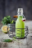 Nettle lemonade in a bottle