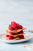 A chocolate tower with berries