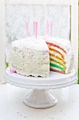 Rainbow cake with candles