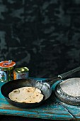 Indian chapati bread in the pan