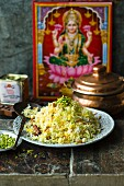 Saffron rice with raisins, pistachios and almonds (India)