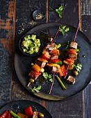 Pepper and lamb skewers with an avocado and coriander cream dip (low carb)
