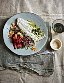 Baked pikeperch on beetroot noodles with parmesan crunch topping (low carb)