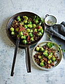 Fried brussels sprouts with mountain lentils and sundried tomatoes (low carb)