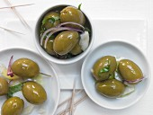 Marinated fennel olives with garlic and orange