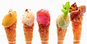 Homemade ice cream in cones