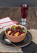 Papaya and red kidney bean salad