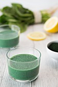 Green spirulina juice with ginger and banana