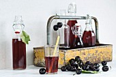Cherry juice in a glass with a straw, bottles in a bottle carrier and fresh cherries