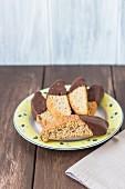 Banana bread biscotti with a chocolate glaze