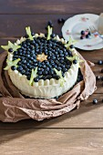 Citrus and blueberry cake decorated with star fruit slices