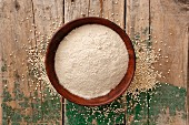 Amaranth flour in a wooden bowl
