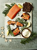 Gin and Pine Cured Salmon with preserved orange and crisp rye bread