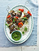 Grilled Lamb Skewers with Pesto
