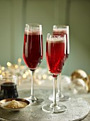 Three glasses of kir royale