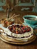 Chocolate, hazelnut and cinnamon meringue cake