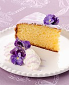 A piece of Ricotta tart with violets
