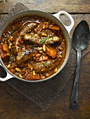 Sausage and bean stew with garlic and chilli