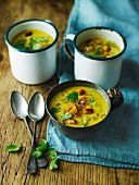 Squash, pear and coriander soup
