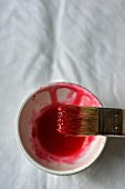 Rhubarb cordial in a small bowl with a brush