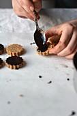 Raw vegan oat cookies with a chocolate glaze