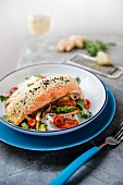 Seasame seed crusted salmon with ginger stir fry