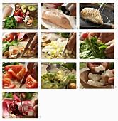 Bunter Schichtsalat mit Spinat, Speck, Hähnchen und Avocado zubereiten