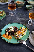 Black Rice Stuff Roasted Peppers with Veggie Pico de Gallo served with salsa and beer