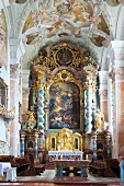 A glimpse inside Metten Abbey in Bavaria, Germany