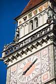 The town hall clock in Passau, Bavaria, Germany