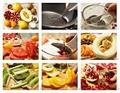 How to make a fruit plate with papaya, kiwi, orange, pomegranate and grapefruit yoghurt