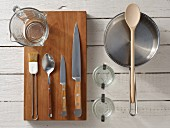 Kitchen utensils for making baked eggs with vegetables