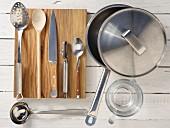 Kitchen utensils for making steamed wolf fish fillets with julienne vegetables