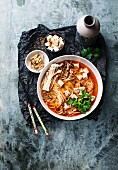 Asian soup with noodles and tofu (vegan)