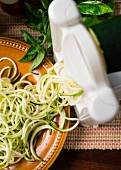 Making zucchini noodles with spiralizer