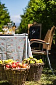 A table and baskets with apples and pears on a fruit plantation