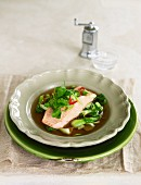 In Season - Ginger Broth with Salmon & Pak Choy