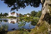 The lake in front of Wanås Castle in southern Sweden