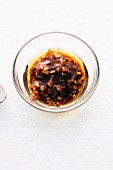 Balsamic and honey vinaigrette in a glass bowl
