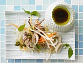 Warm Thai salad with squid, glass noodles and chilies