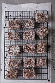 Australian Lamingtons on a baking tray