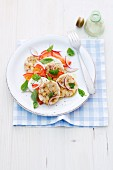 Parma ham fritters with tomatoes and mozzarella