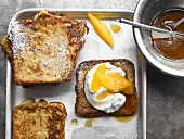 French toast with maple quark and oranges