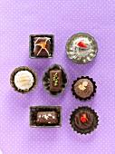 Various chocolates (top view)