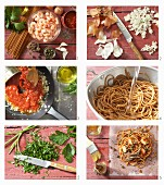 How to prepare spaghetti in parchment with shrimp and tomato sauce