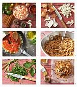 Spaghetti im Pergament mit Garnelen und Tomatensauce zubereiten