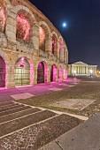The illuminated arena on Piazza Bra in Verona, Italy