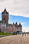 Château Frontenac and the Dufferin Terrace promenade in Quebec, Canada