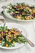 Aubergine and chickpea salad with rocket