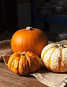 Various pumpkins on a jute cloth